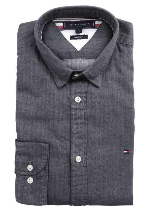 TOMMY HILFIGER Regular Fit Langarm Hemd Under Button Down Fischgrat anthrazit