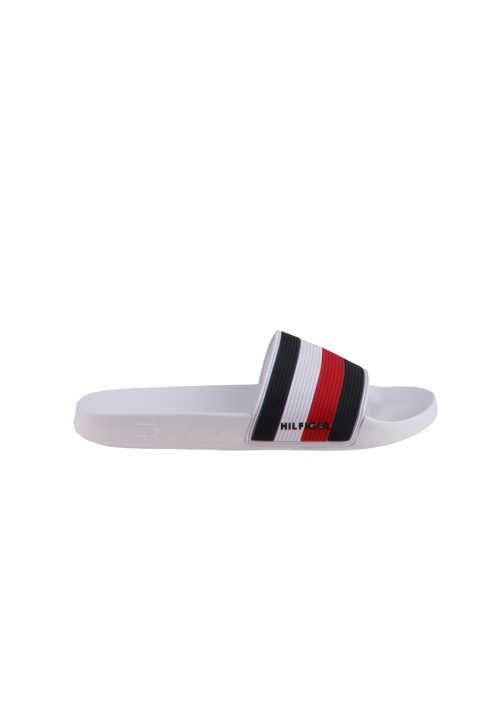 TOMMY HILFIGER Sandale Material-Mix Logo Uni weiß