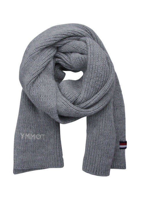 TOMMY HILFIGER Schal EFFORTLESS Strick Logo-Applikation hellgrau