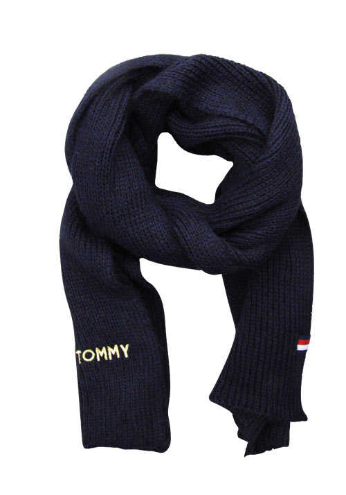 TOMMY HILFIGER Schal EFFORTLESS Strick Logo-Applikation nachtblau