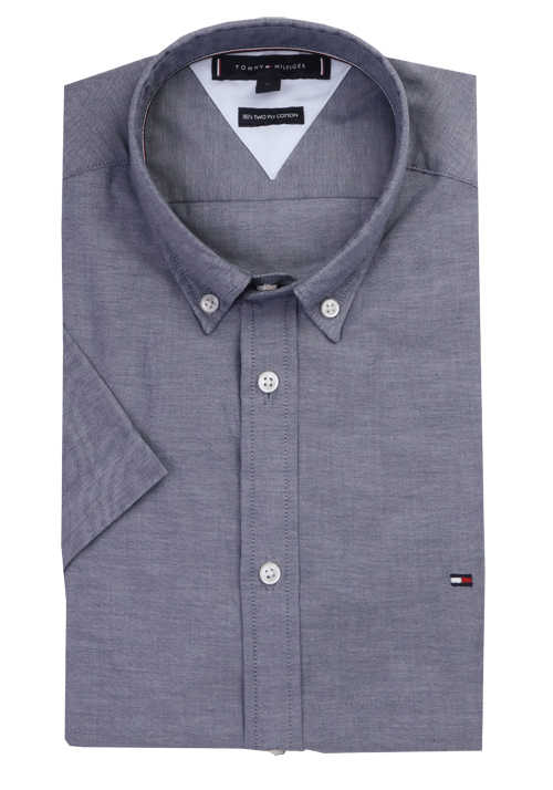 TOMMY HILFIGER Slim Fit Hemd Halbarm Button Down Kragen dunkelblau