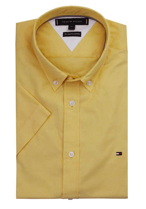 TOMMY HILFIGER Slim Fit Hemd Halbarm Button Down Kragen gelb