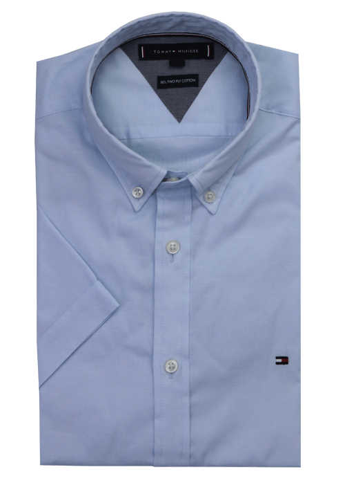 TOMMY HILFIGER Slim Fit Hemd Halbarm Button Down Kragen hellblau