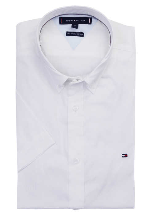 TOMMY HILFIGER Slim Fit Hemd Halbarm Button Down Kragen weiß
