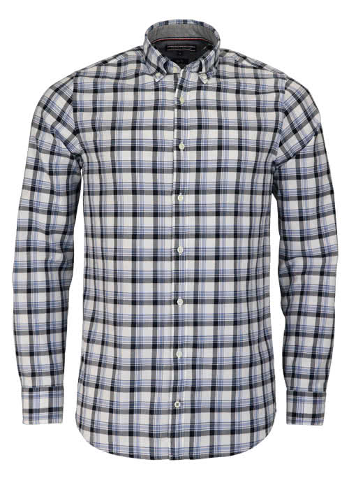 TOMMY HILFIGER Slim Fit Hemd Langarm Button Down Kargen Karo blau