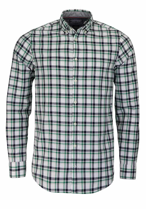TOMMY HILFIGER Slim Fit Hemd Langarm Button Down Kargen Karo grün