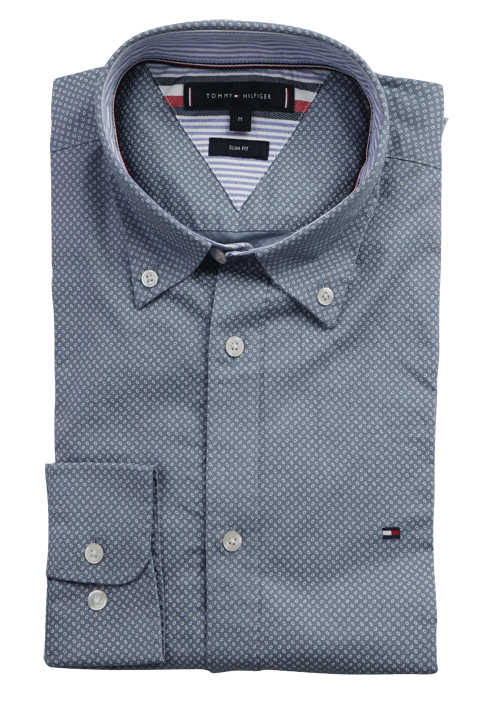 TOMMY HILFIGER Slim Fit Hemd Langarm Button Down Kragen Muster blau