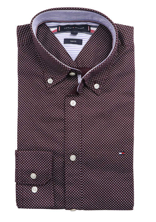 TOMMY HILFIGER Slim Fit Hemd Langarm Button Down Kragen Muster rot
