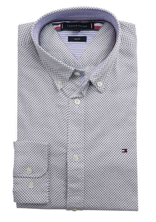 TOMMY HILFIGER Slim Fit Hemd Langarm Button Down Kragen Muster weiß