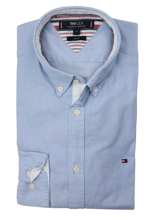 TOMMY HILFIGER Slim Fit Hemd Langarm Button Down Kragen Stretch Muster hellblau