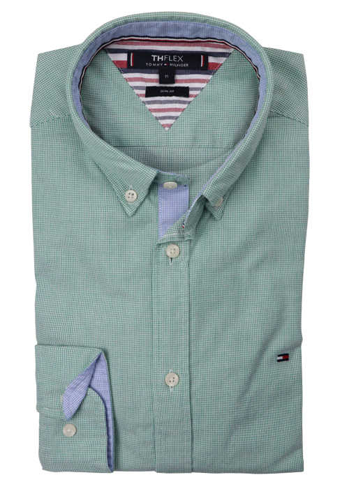 TOMMY HILFIGER Slim Fit Hemd Langarm Button Down Kragen Stretch Muster hellgrün