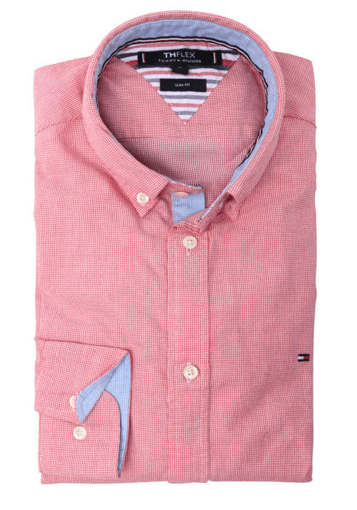 TOMMY HILFIGER Slim Fit Hemd Langarm Button Down Kragen Stretch Muster rot
