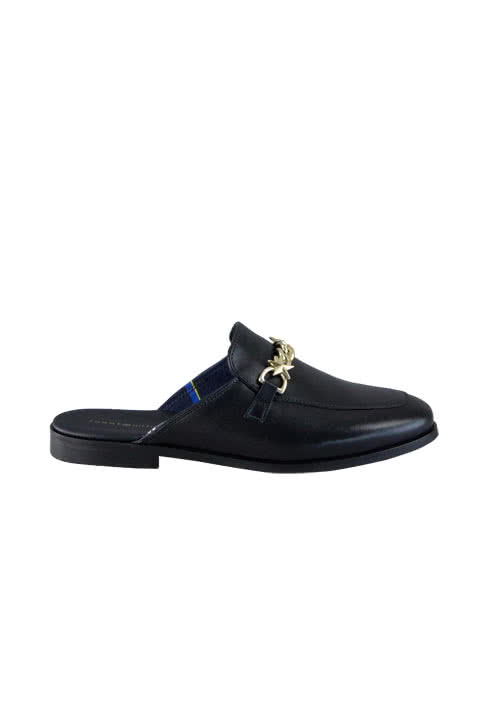 TOMMY HILFIGER Slip-On Loafer Leder Golddetails schwarz
