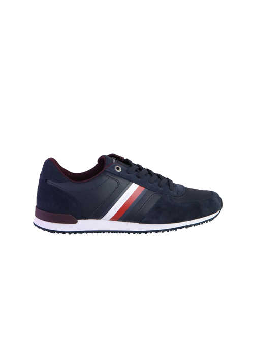 TOMMY HILFIGER Sneaker Schnürer Material-Mix navy