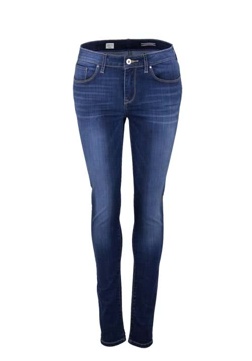 TOMMY HILFIGER Straight Jegging Waschung used dunkelblau