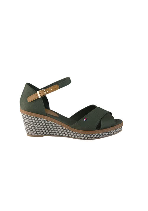 TOMMY HILFIGER Wedges ICONIC ELBA Keilabsatz Muster oliv