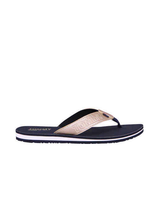 TOMMY JEANS Flip Flop SHINY METALLIC Logo-Detail gold