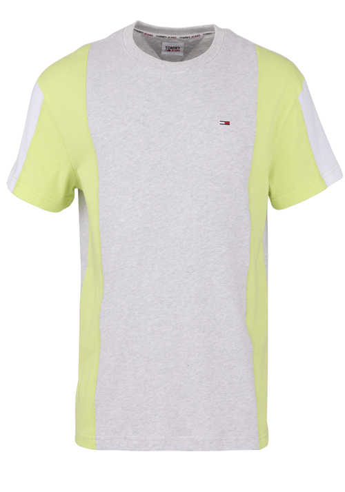 TOMMY JEANS Halbarm T-Shirt Rundhals Color-Blocking Logo-Stick grau/neongelb