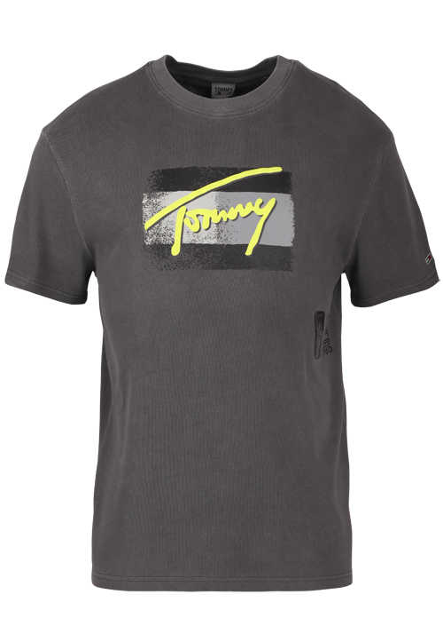 TOMMY JEANS Halbarm T-Shirt Rundhals Front-Logo-Print anthrazit