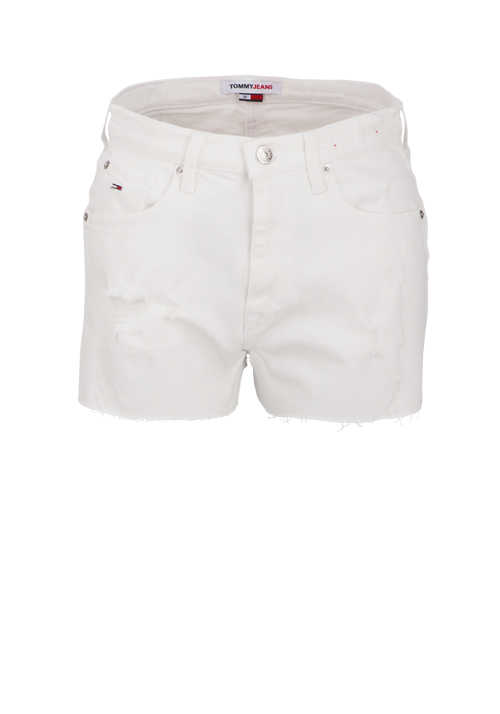 TOMMY JEANS Hotpants Button-Zipp-Verschluss 5-Pocket weiß