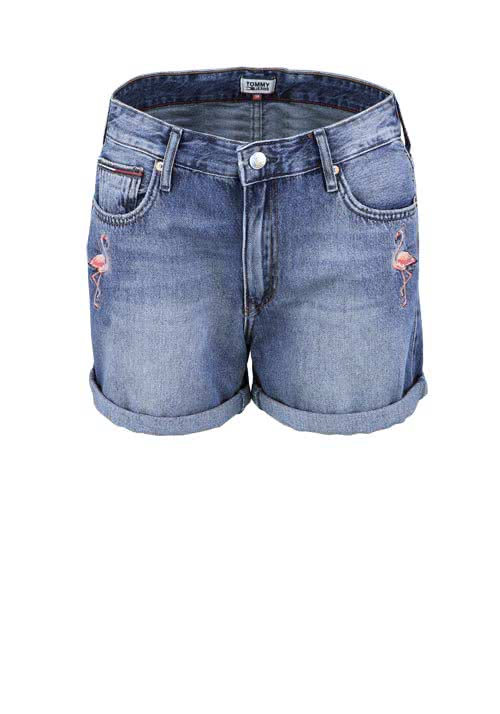 TOMMY JEANS Jeans Short Used Flamingo Aplikation mittelblau