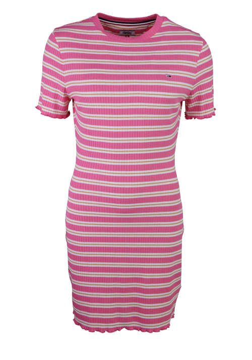 TOMMY JEANS Kurzarm Kleid lang Rundhals Stretch Ringel rosa
