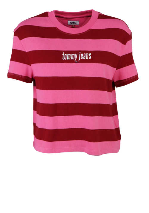 TOMMY JEANS Kurzarm Shirt Rundhals Oversize Logo-Stick Ringel rosa