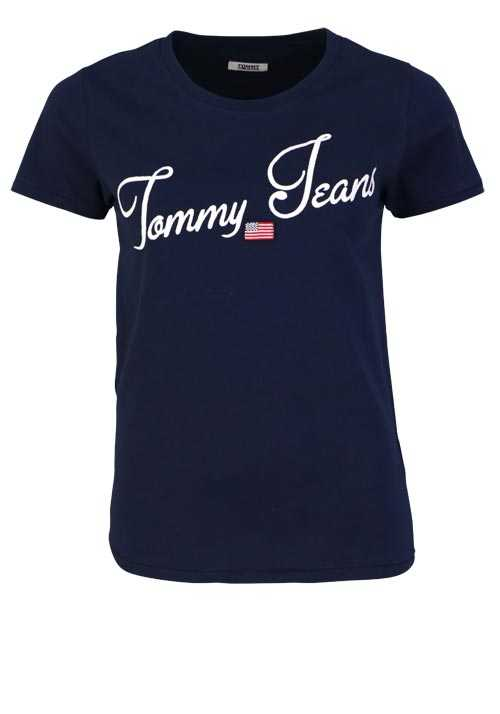 TOMMY JEANS Kurzarm T-Shirt Rundhals Applikation navy