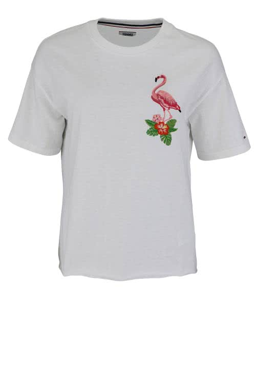 TOMMY JEANS Kurzarm T-Shirt Rundhals Flamingo Applikation weiß