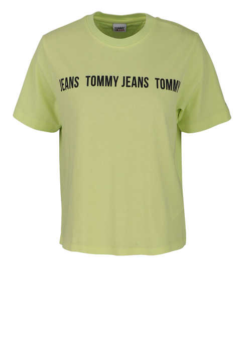 TOMMY JEANS Kurzarm T-Shirt Rundhals Front-Logo-Print limone