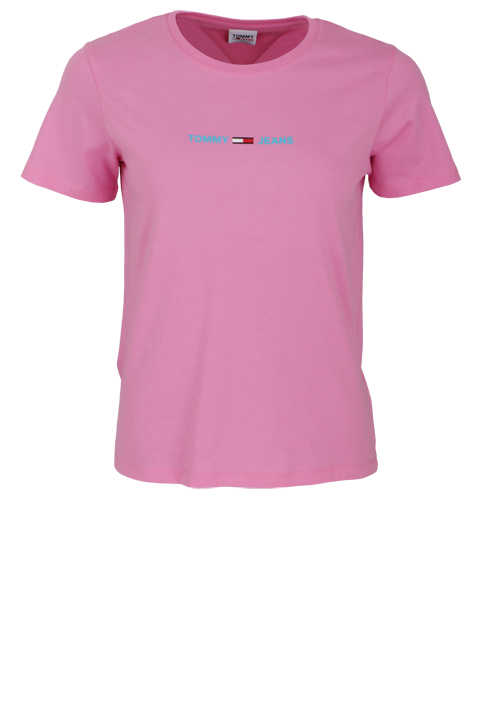 TOMMY JEANS Kurzarm T-Shirt Rundhals Front-Logo-Print rosa