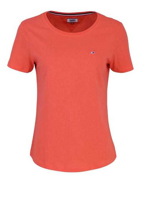 TOMMY JEANS Kurzarm T-Shirt Rundhals Logo-Detail lachs