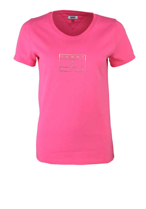 TOMMY JEANS Kurzarm T-Shirt Rundhals Logo-Print Baumwolle rosa
