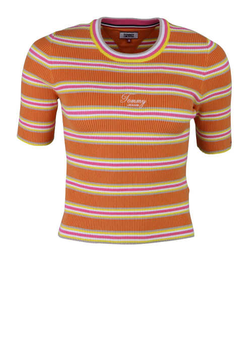 TOMMY JEANS Kurzarm T-Shirt Rundhals Logo-Stick multicolor Ringel