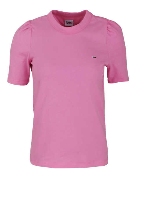 TOMMY JEANS Kurzarm T-Shirt Rundhals Logo-Stick rosa