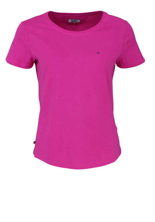 TOMMY JEANS Kurzarm T-Shirt Rundhals Logo pink