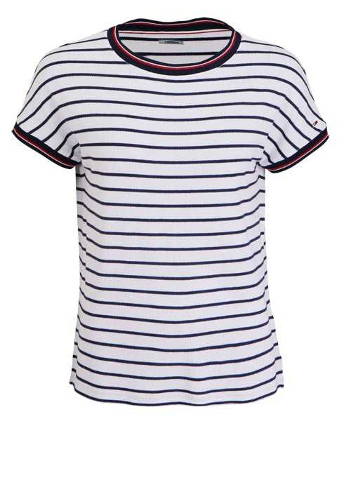 TOMMY JEANS Kurzarm T-Shirt Rundhals Loose Fit Ringeln nachtblau