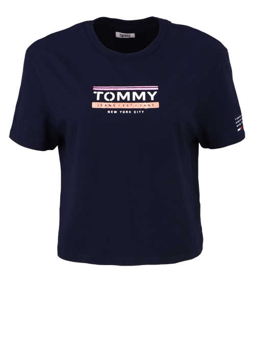 TOMMY JEANS Kurzarm T-Shirt Rundhals Oversize Cropped Print dunkelblau