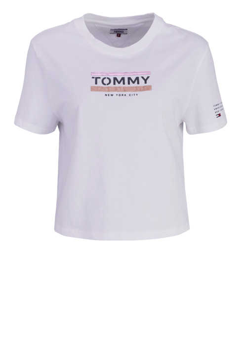 TOMMY JEANS Kurzarm T-Shirt Rundhals Oversize Cropped Print weiß