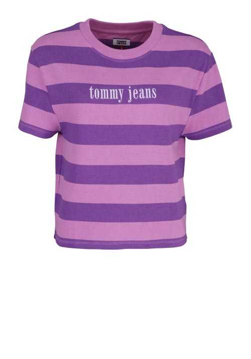 TOMMY JEANS Kurzarm T-Shirt Rundhals Oversize Cropped Ringel rosa