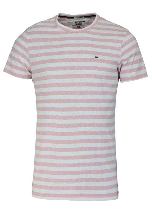 TOMMY JEANS Kurzarm T-Shirt Rundhals Ringel hellrosa