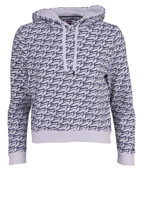 TOMMY JEANS Langarm Hoodie Kapuze Crooped Allover Muster schwarz