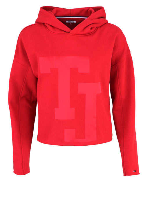 TOMMY JEANS Langarm Hoodie Kapuze Cropped Oversize mittelrot