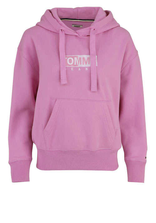 TOMMY JEANS Langarm Hoodie Kapuze Peach-Finish rosa