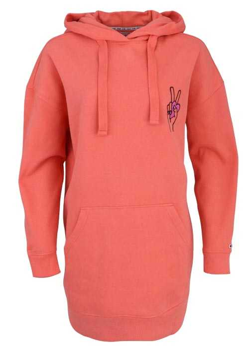 TOMMY JEANS Langarm Long-Hoodie Statement-Print lachs