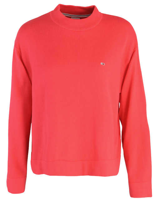 TOMMY JEANS Langarm Pullover Stehkragen Oversize hellrot
