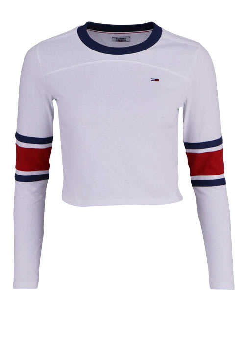 TOMMY JEANS Langarm Shirt Rundhals Cropped weiß