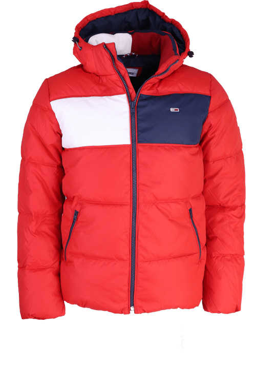 TOMMY JEANS Langarm Steppjacke abnehmbare Kapuze Taschen Muster rot