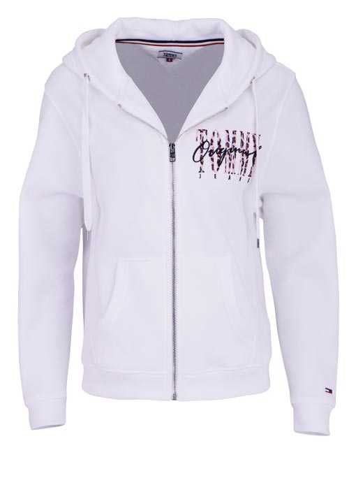 TOMMY JEANS Langarm Sweatjacke Kapuze Zipper Peach-Finish weiß