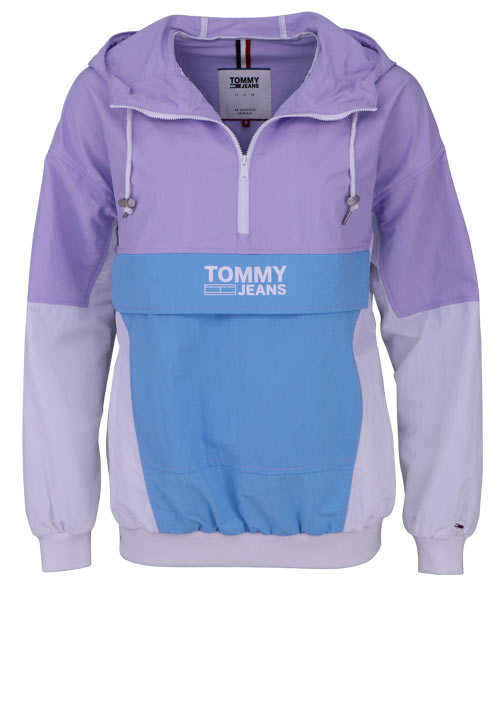TOMMY JEANS Langarm Windbreaker Kapuze Zipper Colorblock flieder